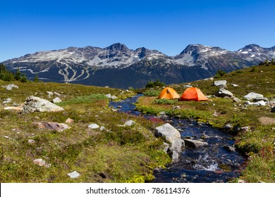 Summer scenic landscape of the mountains and camping in the high alpine