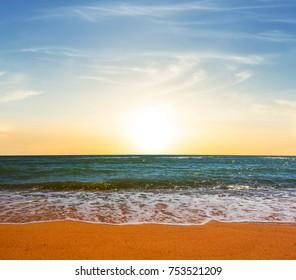 summer sea beach at the sunset