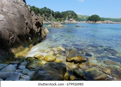 Summer, sea, clear water. Gamov Peninsula. Primorye. Russia.