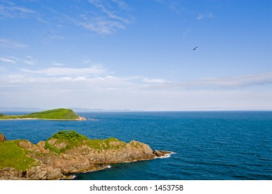 Summer. Sea coast. The rocky cape acts in the sea.