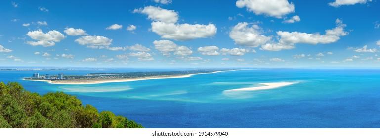 Summer sea coastal landscape of Nature Park Arrabida in Setubal, Portugal. Multi shots stitch high-resolution panorama.