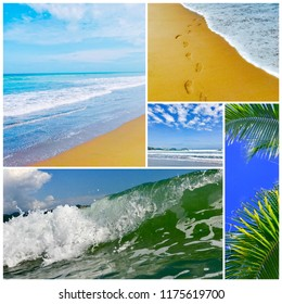 Summer sea photo collage.