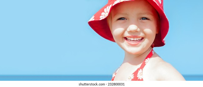 summer sea vacation panoramic background happy beautiful child girl