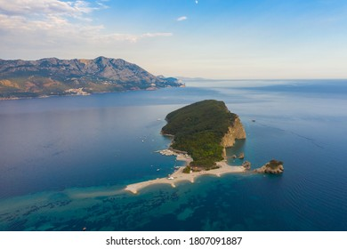 Summer sea view on St. Nicholas Island near Budva, famous travel destination in Montenegro, Europe.