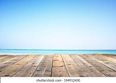 summer sea and wooden floor