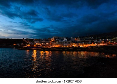 Summer seascape on tropical island Tenerife, Canary in Spain. Costa Adeje at night