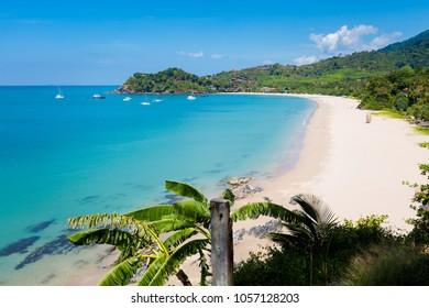 Summer seascape on tropical koh Lanta  island in Thailand. Landscape taken on Ba Kantiang Bay with blue sky