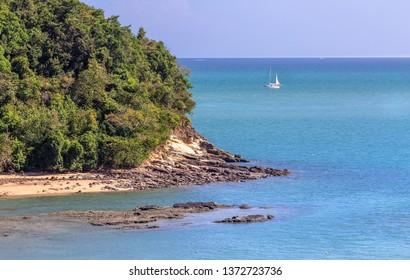 Summer seascape on tropical small island at Koh Lanta, Krabi, Thailand.