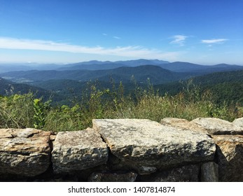Summer season landscape scenic view of the Appalachian Mountains in Shenandoah National Park Virginia USA. This mountain range is part of the Blue Ridge Mountains and the Allegheny Mountains.