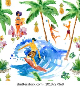 Summer set. Sport, ocean, people, fruits and flowers. Watercolor illustration. Seamless background.
