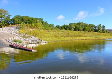 Summer shoreline view of Saylorville Lake near Polk City Iowa