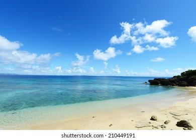 Summer sky and beautiful beach of Okinawa