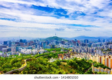 Summer and  Skyline of Seoul viewpoint from Inwangsan mountain in Seoul,South Korea