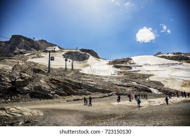 summer snow in mountains area of Austrian Tyrol