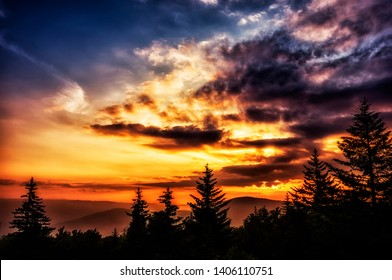 Summer Solstice Sunrise, Williams River Valley Overlook, Black Mountain , Monongahela National Forest, West Virginia, USA