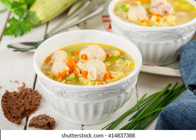 Summer Soup with Zucchini, Pasta and Chicken and Ham Meatballs