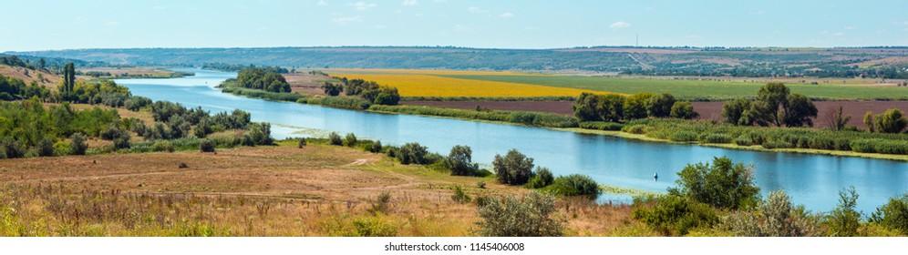 Summer Southern Bug river lowland near Rakove (river crayfish in translation from the Ukrainian language) village, Mykolaiv Region, Ukraine.