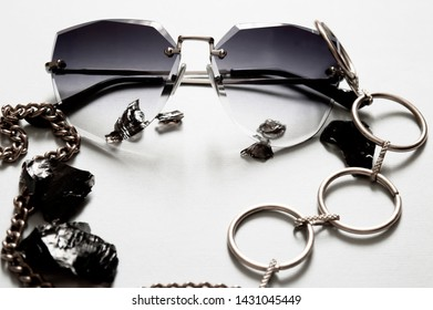 Summer spectacles. Fashinable sunglases background.