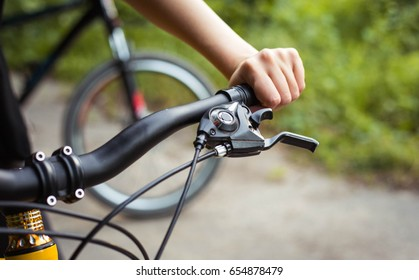 Summer sport bicycle in park with sunshine background