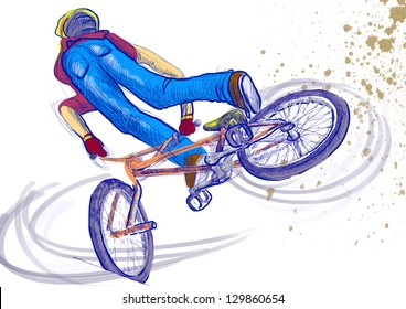 Summer sport. /// Young boy showing off freestyle trick with his bicycle. /// A hand drawn full sized illustration.