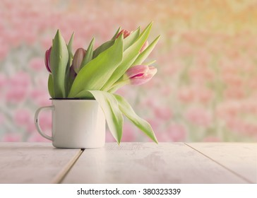 Summer or spring beautiful garden with tulip flowers