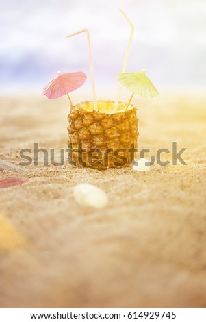 fa40821b Summer Still Lifes on the Beach, sunny Luxury and Cocktails with happy  Umbrellas and straws