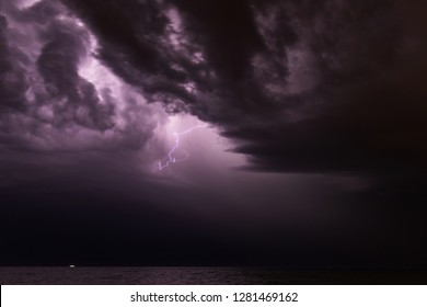 Summer storm with lightning, thunder and rain - Thunderstorm with dramatic clouds