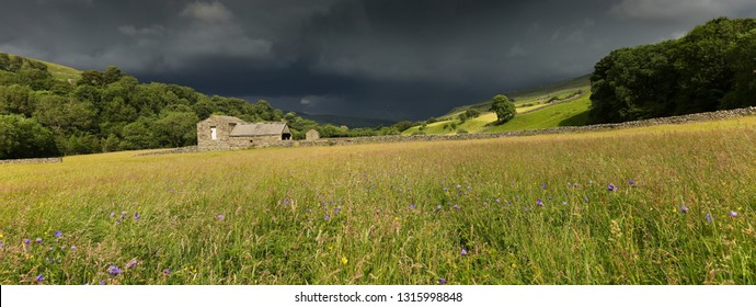 Summer storm, Swaledale, North Yorkshire. Brooding rain storm clouds over the Dales, panoramic landscape with flower meadows, green fields and old barn