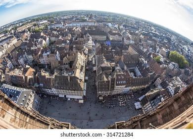 Summer Strasbourg in fish-eye lens