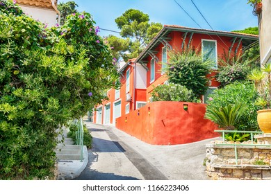 summer street in Bandol, region of Toulon
