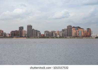 Summer street view from the Kazanka embankment in Kazan, Tatarstan Russian federation