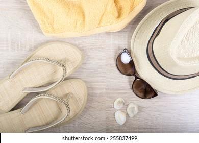 Summer stuff on wooden background