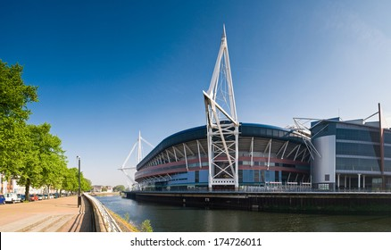 Summer sun over the River Taff and Millennium sports stadium in Cardiff.