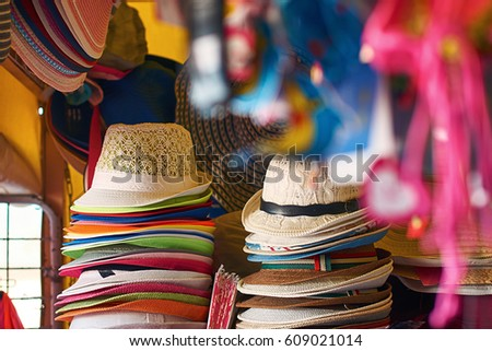 2d9aa810ba083d Summer Sun Straw Hats Beach Shop Stock Photo (Edit Now) 609021014 ...