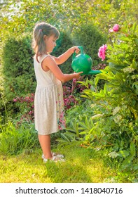 Summer sunny day in garden. Little girl watering flowers in the garden. Girl with a green watering can watering peonies.