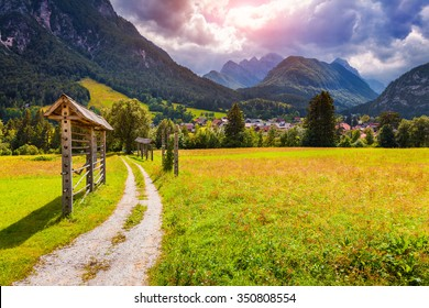 Summer sunny scene of Triglav mountain range, view from the Gozd Martuljek village, Julian Alps, Slovenia, Europe.