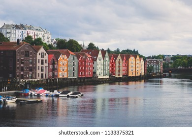 Summer sunny view of Trondheim, a city and municipality in Trondelag county, Norway,