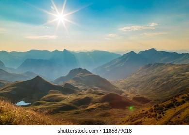 Summer sunrise between the alps of Friuli Venezia-Giulia