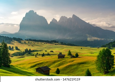 Summer sunrise in Italian Dolomiti Alps. Seiser Alm or Alpe di Siusi location, Bolzano province, South Tyrol, Italy, Europe