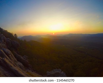 Summer Sunrise on Dragon's Tooth in the Virginia Appalachian Mountains