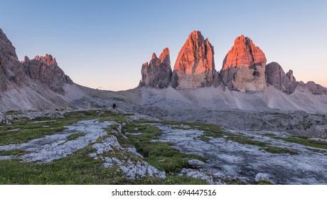 Summer sunrise at Tre Cime di Lavaredo in the Dolomites