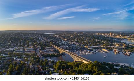 Summer sunset above Ballard, Washington
