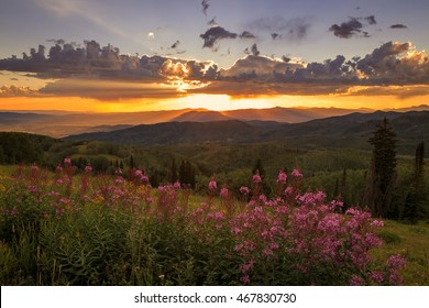 Summer sunset above Steamboat Springs, Colorado, USA.