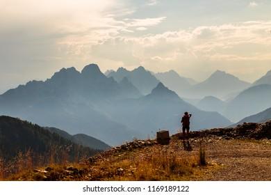 Summer sunset between the alps of Friuli Venezia-Giulia