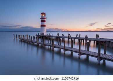 Summer sunset impression of lighthouse at Lake Neusiedl (Podersdorf am See, Burgenland, Austria)