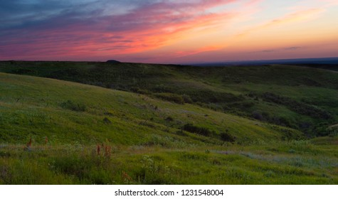 Summer sunset in Montana with red and purple in the sky