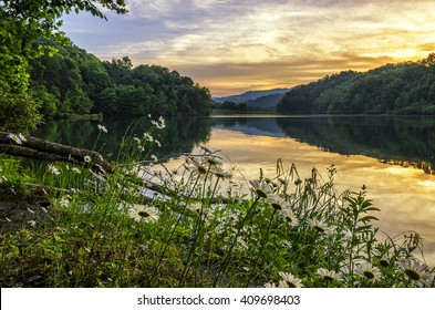 Summer sunset and mountain lake, Appalachian Mountains of Kentucky
