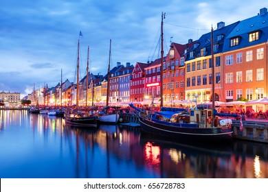 Summer sunset in Nyhaven, Copenhagen, Denmark