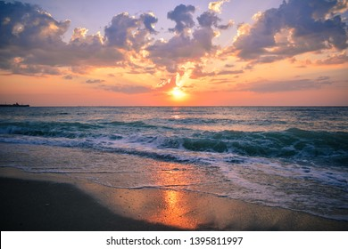 Summer sunset on beach from Black Sea Romania