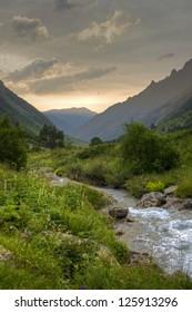 Summer sunset on North Caucasus